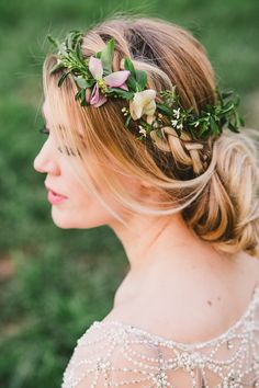 Bridal Chic undo with side braid & pinned tousled locks finished with a flower crown - Image by Madie Allen - Outdoor Wedding Inspiration Shoot In Utah USA With Beautiful Spring Flowers From La Belle Fleur And Images By Maddie Allen Photography And Ashleigh Brown Photography