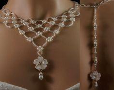 Colgante Perla plata cristal checo cuentas escenario nupcial collar. collar de perla de la boda telón de fondo. collar vintage de telón de fondo