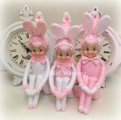 Shabby chic pink Easter bunny elves <3 <3 <3