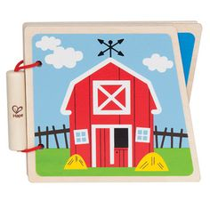 At the Farm  Sturdy wooden pages and simple pictures encourage babies to read along with you. (8 pages)