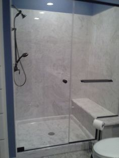 """In your remodel or new construction, when it comes to choosing shower material...think cultured marble, the ease of clean and as far as design, you could add glass tiles as accent...CreeKraft Cultured Marble giving you """"The Affordable Elegance"""""""
