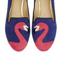 Pin for Later: Les flamants roses sont partout ! Et on adore ça ! Mocassins C. Wonder C. Wonder Flamingo Suede Smoking Slippers ($138)