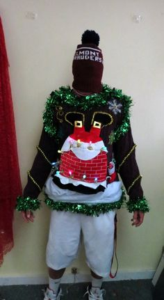 Items similar to Custom Hilarious! Light up Santa Stuck in Chimney tacky Ugly Christmas Sweater mens or Womens Made to Order on Etsy Best Ugly Christmas Sweater, Christmas Sweaters For Women, Tacky Christmas, Christmas Costumes, Christmas Shirts, Xmas Sweaters, Xmas Jumpers, Christmas Dresses, Christmas Games