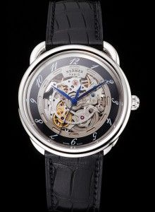 Swiss Hermes Arceau Skeleton Black Dial Blue Hands Stainless Steel Case Black Leather Strap
