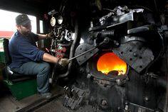 steam locomotive - fireman/cab view