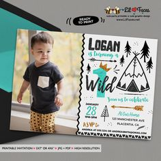 King of all wild things Photo Invitations Black Teal gold printable Birthday invite - Printable DIY Invitation - Personalized Invite card DIY party printables will save you time and money while making your planning a snap!