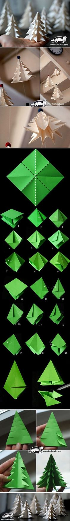 DIY Paper Christmas Tree To Decorate Your Rooms Instead of buying Christmas tree, you can make some paper Christmas tree with different colors to decorate your rooms. The steps are pretty simple - DIY Paper Christmas Tree Diy Paper Christmas Tree, Noel Christmas, All Things Christmas, Christmas Decorations, Christmas Ornaments, Origami Christmas, Tree Decorations, Xmas Trees, Christmas Candle
