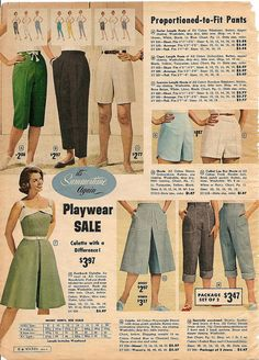 Oodles of vintage summertime short and pant inspiration. #shorts #pants #vintage #retro #fashion #1960s
