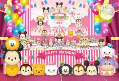 Disney Tsum Tsum Carnival Backdrop Banner Digital by Partyprintkk