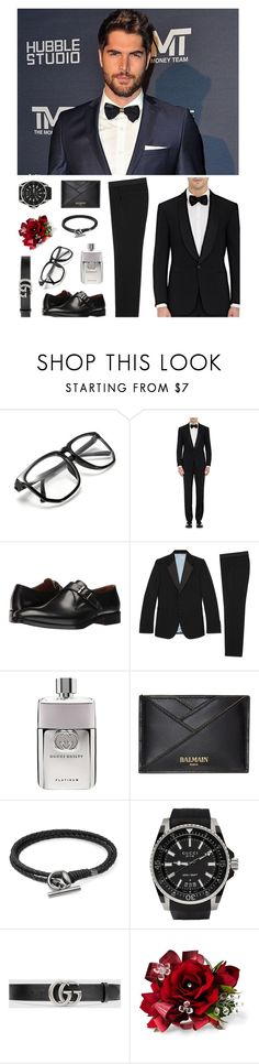 """""""Untitled #7"""" by dukecall ❤ liked on Polyvore featuring Ralph Lauren Purple Label, Kenneth Cole, Gucci, Balmain, men's fashion and menswear"""