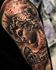 When In Rome by @sergiofernandeztattoo in Malaga Spain. #rome #colosseum #clock #numerals #sergiofernandeztattoo #malaga #spain #tattoo #tattoos #tattoosnob