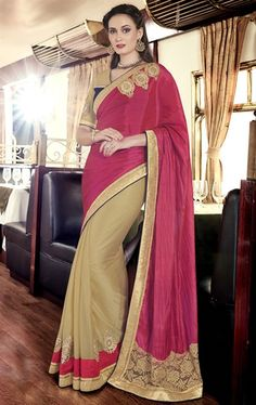 Picture of Tempting Deep Pink Latest Saree Online