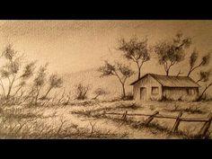 Cómo dibujar un paisaje a lápiz paso a paso, aprender a dibujar paisajes a lapiz - YouTube