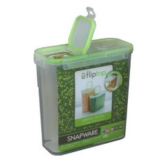 15.3 Cup Slim Flip Top Rectangular Storage Container by Snapware. $6.62. Food Container & Food Storage. 4021. Clear. Snapware. 4021 Features: -Storage container.-Slim flip top series.-Ideal for dry food storage.-Silicone gaskets and tight snapping latches.-100pct Air and water tight.-Long lasting food freshness.-Modular stacking system.-Space saving inside the pantry.-Has flip top double airtight seals.-Convenient pouring, scooping and snacking.-Capacity: 15.3 cup.-Made i...