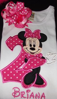 Miss Mouse Birthday shirt and Matching Hair Bow, your choice of colors, personalized name and number 1st, 2nd, 3rd,..applique, $26.00