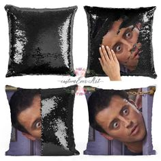 "29 Gifts You Need To Get For The Biggest ""Friends"" Fan In Your Life : Joey Tribbiani Sequin Pillow 29 Gifts Only The Truest ""Friends"" Fans Will Completely Appreciate Could these gifts BE any better? Friends Tv Show Gifts, Big Friends, Friends Moments, True Friends, Friends Cake, Red Throw Pillows, Colorful Pillows, Friends Merchandise, Friends Apartment"