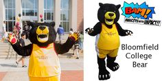 Bloomfield College Bear mascot created by BAM! Mascot Costumes, College, Concept, Bear, Design, University, Design Comics, Bears, Community College