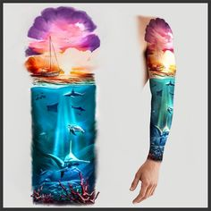 patrickjamesstiles created a custom tattoo on They got dozens of unique ideas from professional designers and picked their favorite. Forest Tattoo Sleeve, Ocean Sleeve Tattoos, Half Sleeve Tattoos Drawings, Animal Sleeve Tattoo, Sky Tattoos, Forest Tattoos, Tattoo Sleeve Designs, Animal Tattoos, Body Art Tattoos