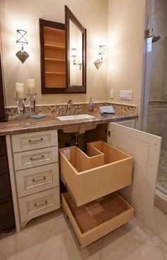 Modern Farmhouse, Rustic Modern, Classic, light and airy master bathroom design some ideas. Bathroom makeover tips and bathroom renovation tips. Bathroom Organization, Bathroom Storage, Bathroom Interior, Modern Bathroom, Organization Ideas, Cabinet Storage, Small Master Bathroom Ideas, Master Bathrooms, Gold Bathroom