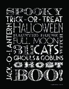 Halloween Word Art- and other fabulous printables!