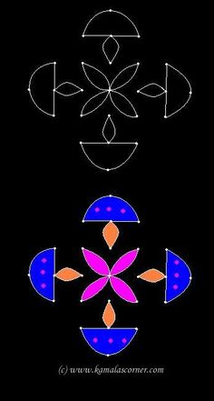 Kolangal: 5 - 10 Dots - 1 parallel dots (Neer Pulli) Kolam - Start with 7 dots in the center, leave one dot at both ends and stop at 1 by putting parallel dots at both sides. Join the dots as shown in the picture. Indian Rangoli Designs, Simple Rangoli Designs Images, Rangoli Designs Flower, Rangoli Border Designs, Small Rangoli Design, Rangoli Patterns, Rangoli Designs With Dots, Flower Rangoli, Rangoli With Dots