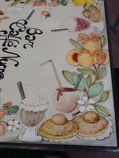Tavolo decorato a mano in pietra lavica .