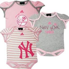Too cute! Pink Yankee baby girl outfits!