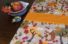 Retro Mid Century Style Autumn Thanksgiving Table Runner, New, Hand Made by Tiki Queen