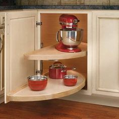 Features:  -Color: Natural.  -Material: Wood.  -Pivot and slide hardware.  -Adaptable to left or right hand cabinet applications.  -Adjustable top shelf: Yes.  -Adjustable bottom shelf: No.  Color: -N
