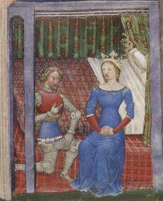BNF Français 343 Queste del Saint Graal / Tristan de Léonois. Folio 8r. Dating 1380-1385. Milan, Italy