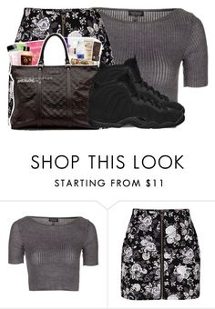 """Grey"" by dopegahl ❤ liked on Polyvore featuring Topshop, H&M, ...Lost and NIKE"