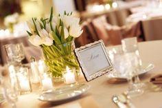 DIY White Tulip Centerpiece #wedding #flowers