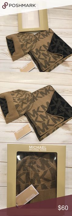 🆕 Michael Kors Scarf and Hat Michael Kors Boxed Scarf and Hat. Light Tan and Chocolate Brown Lettering. shop my closet for a variety of other MK Scarves Hats Gloves Jewelry and clothing 🛍 Michael Kors Accessories