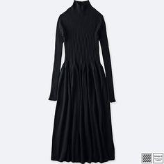WOMEN U 3D MERINO RIBBED MOCK NECK LONG-SLEEVE DRESS, BLACK, large
