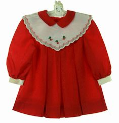NEW Polly Flinders Red Pleated Dress with Ivory Portrait Collar with Cherry Embroidery $75.00 #PollyFlindersDress