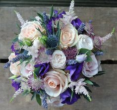 Shades of pink & purple bridal bouquet - www.stems.me.uk