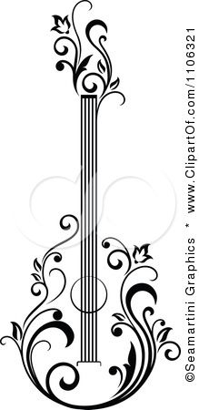 Clipart Black And White Floral Guitar 1 - Royalty Free Vector Illustration by Seamartini Graphics