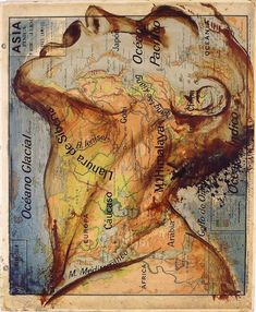 """In the painting series """"Atlas,"""" Spanish artist Fernando Vicente uses maps as canvases for his incredible illustration work. The illustrations---of people Siberia, Art Carte, Map Painting, Les Continents, Ap Studio Art, Montage Photo, Second Empire, Spanish Artists, Art Studios"""