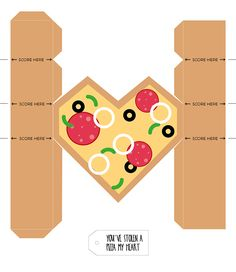 Make   give | Printable pizza heart gift boxes for Valentine's Day