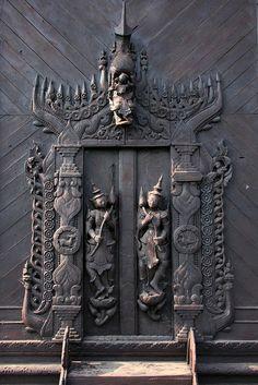Shwe in bin Kyaung (monastery) in Mandalay, Myanmar (Burma) Joker Iphone Wallpaper, Religious Architecture, Unique Doors, Mandalay, Old Doors, Wood Sculpture, Buddhism, Street Art, Decoupage