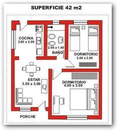 planos de casas economicas de dos dormitorios - Buscar con Google