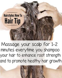 Massage your scalp for 1-2 minutes everytime you shampoo your hair to enhance root strength and promote healthy hair growth!