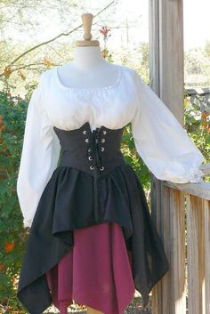 Pirate Dress Renaissance Outfit Waist Cincher Historical