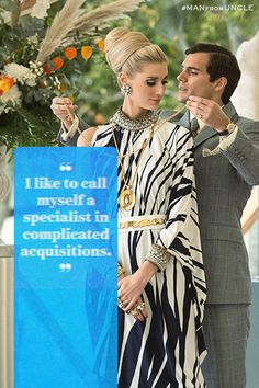 """Victoria Vinciguerra: """"So you're a thief?"""" Napoleon Solo: """"I like to call myself a specialist in complicated acquisitions."""" 