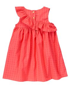 Toddler Girls Poppy Pink Ruffle Corsage Dress by Gymboree. Baby Girl Dresses Diy, Dress For Girl Child, Baby Girl Dress Patterns, Little Girl Outfits, Kids Outfits, Girls Dresses, Frocks For Girls, Kids Frocks, Baby Frocks Party Wear