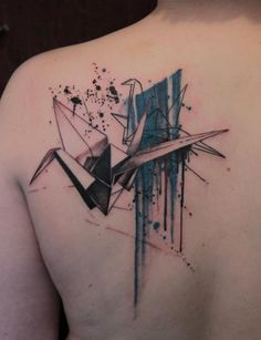 Folding paper, origami crane, tattoo illustration.  GENE COFFEY, tattoo artist | The VandalList
