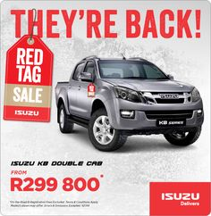 Purchase New Isuzu KB Double Cab from R299 800.