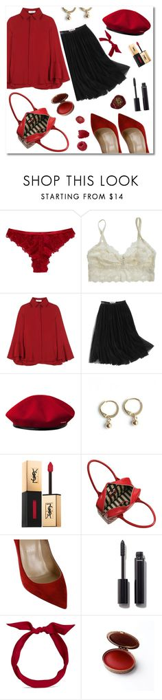 ""\ LUST FOR RED"" by saintliberata ❤ liked on Polyvore featuring Hot Anatomy, Valentino, WithChic, kangol, Yves Saint Laurent, Lulu Guinness, Christian Louboutin, Chanel, yunotme and Color236|1018|?|864cc61a46405267bc64c1c2fb6d8921|False|UNLIKELY|0.3749100863933563