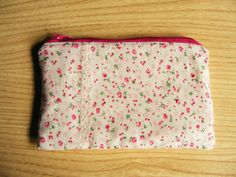 Pink Lace Pouch  Floral Makeup Bag  Coin Purse  Polka by FlosCaeli