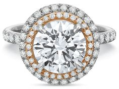 Precision Set 18K White and Rose Gold Double Round Diamond Halo with Split Shank Engagement Ring.